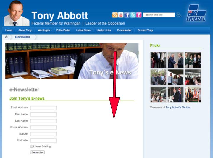 Tony Abbott's Landing Page